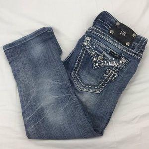 Miss Me cuff Capri distressed embellished jeans